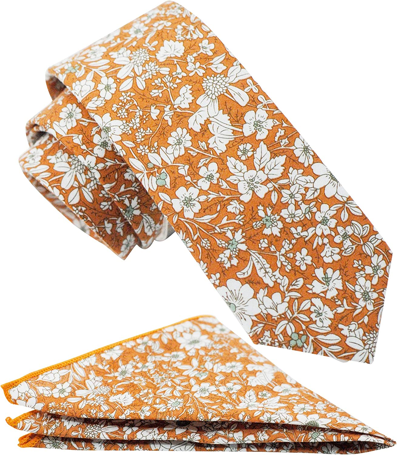 Mens Casual Skinny Floral Tie Combo Set with Flower Pocket Square 2½