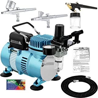Master Airbrush Cool Runner II Dual Fan Air Compressor Airbrushing System Kit with 3 Professional Airbrush Sets, 0.2, 0.3 ...