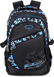 BELK Fashion Blue Camo Schoolbag Student Backpack for Middle School Teen Boy