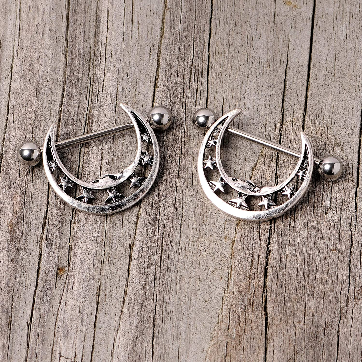 Body Candy 14G Womens Nipplerings Piercing Stainless Steel 2Pc Crescent Moon Star Nipple Shield Set 7/8