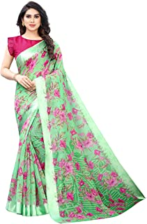 ANY DESIGNER Women's Linen Cotton Digital Printed Saree With Blouse Piece (HIBISCUS)