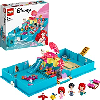 LEGO 43176 Disney Princess Ariel's Storybook Adventures Playset with Ariel the Little Mermaid, Portable Travel Case Toy