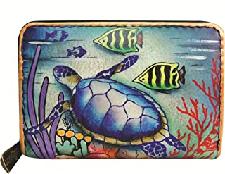 Anuschka Credit Card, Business Card Holder   Genuine Leather, Hand-painted Original Art   Holds 11 cards
