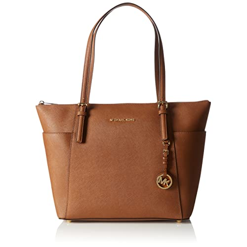 92519c991586 Michael Kors Women Jet Set Large Top-zip Saffiano Leather Tote Shoulder Bag