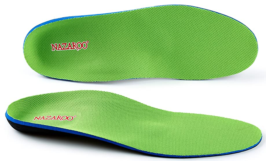 Orthotic Insoles for Flat Feet by NAZAROO, Shoe Inserts for Plantar Fasciitis, Relieve Feet Pain, Heel Spur and Pronation for Men and Women (US Mens 13-13.5)