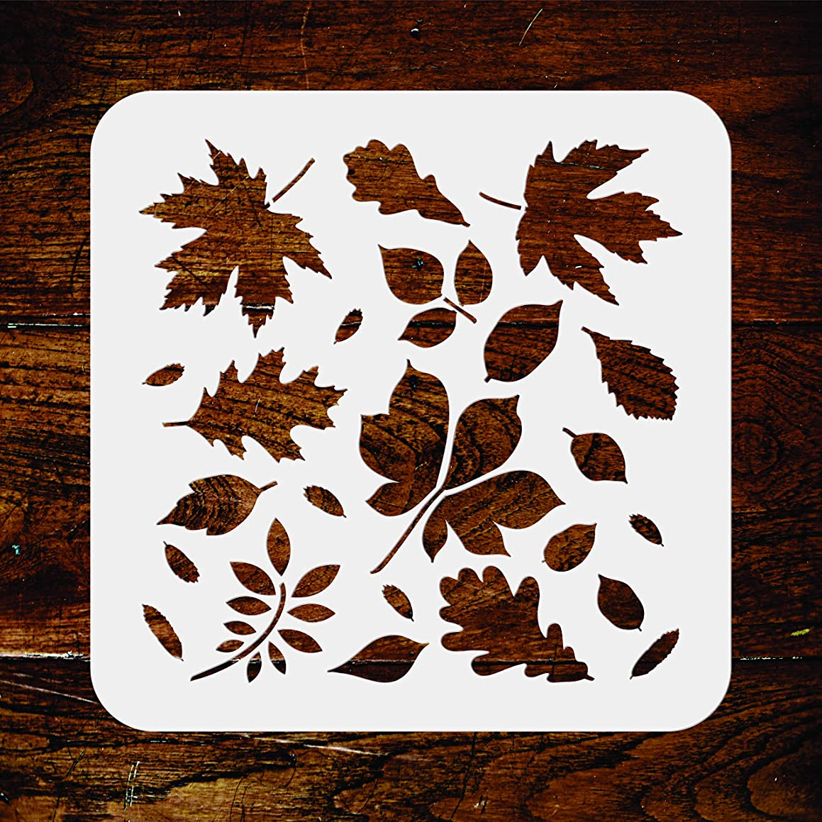 Leaves Stencil - 6.5 x 6.5 inch - Reusable Autumn Fall Leaf Flora Wall Stencil Template - Use on Paper Projects Scrapbook Journal Walls Floors Fabric Furniture Glass Wood etc.