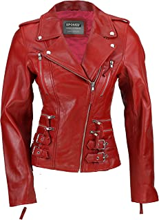 New Ladies Womens Tan Blue Real Leather Fitted Vintage Biker Style Zip Buckled Short Jacket