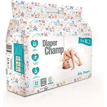 DIAPER CHAMP No Chlorine and Paraben Diapers (Extra Large Size, 12- 25kg)- 32 Counts