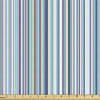 Lunarable Striped Fabric by The Yard, Simplistic Pattern with Vertical Stripes in Pastel Colors Modern Design, Decorative ...