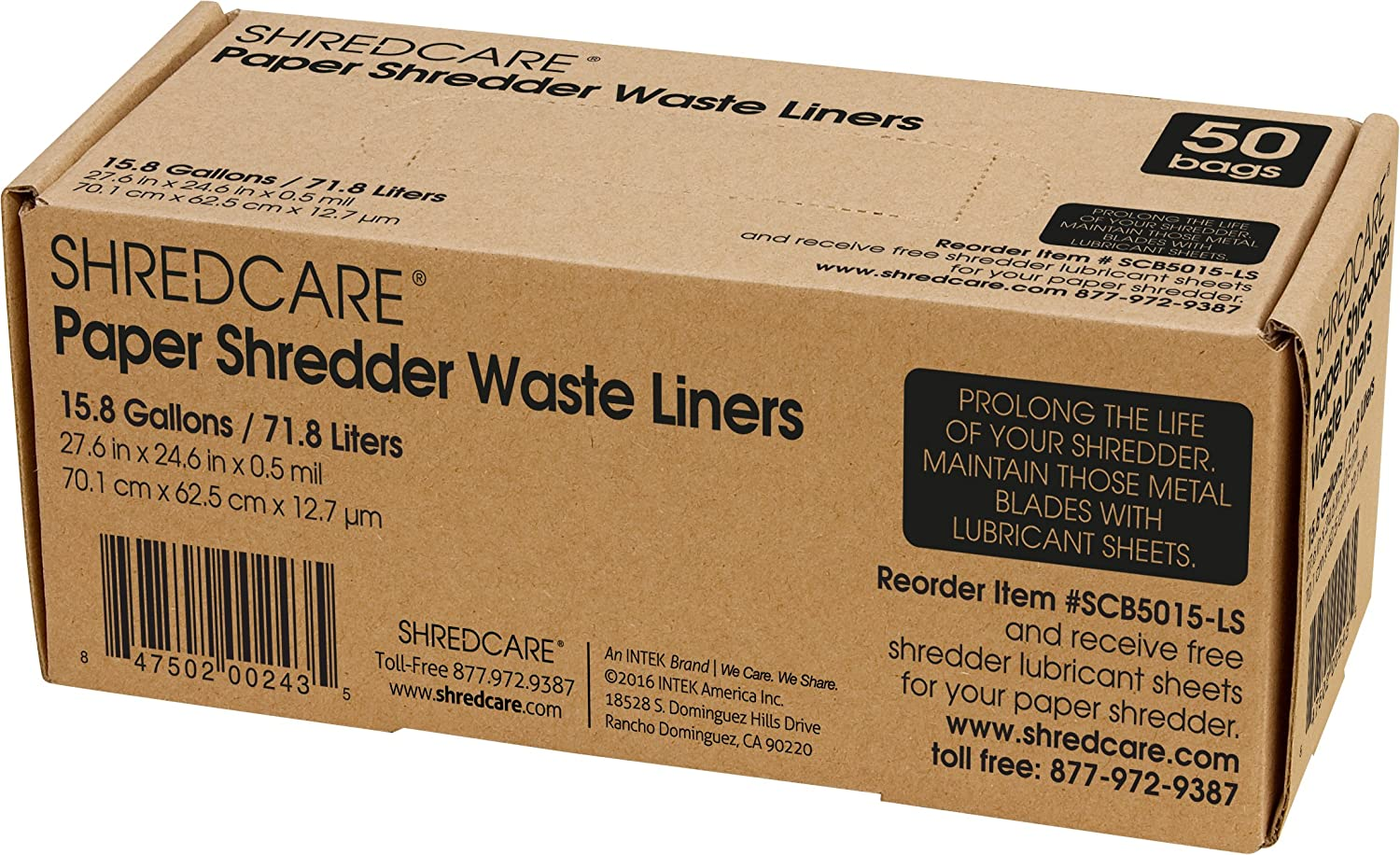 ShredCare Office Waste Bin Trash Max 47% OFF New life Can SCB5015 Liner 50 of Pack