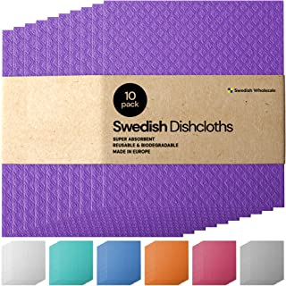 Sponsored Ad - Swedish Dishcloth Cellulose Sponge Cloths - Bulk 10 Pack of Eco-Friendly Reusable Cleaning Cloths for Kitch...