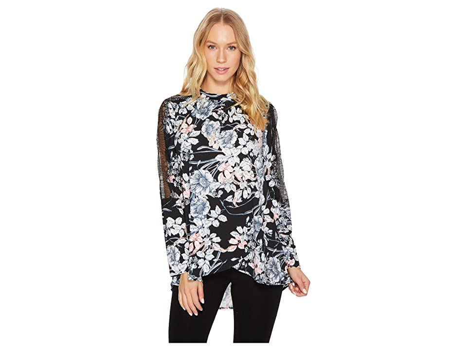CATHERINE Catherine Malandrino Long Sleeve Mock Neck Cross Over Draped Front Top (French Floral Black) Women
