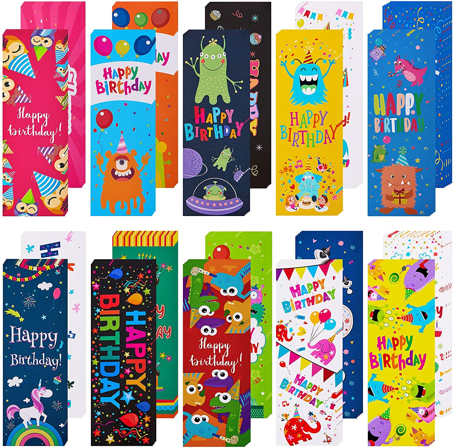 Happy Birthday Bookmarks Laminated Colors and Imaginative Patter Lowest price challenge Finally resale start