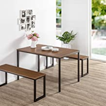 Zinus Louis Modern Studio Soho Dining Brown Table Set with Two Benches | 3 Pieces Dining Set | Easy Assembly Industrial Di...
