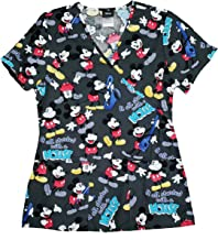 Disney Mickey Mouse It All Started with a Mouse V-Neck Scrub Top