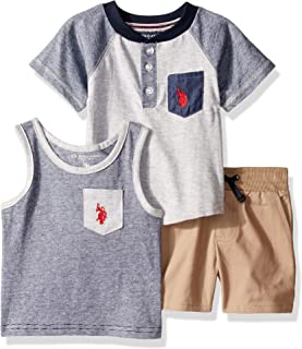 U.S. Polo Assn. Baby-Boys 3 Piece Short Sleeve Henley T-Shirt, Tank Top, and Short Set Shorts Set