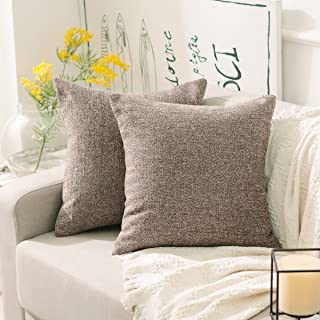 Home Brilliant Decorative Pillowcases Striped Chenille Velvet Plush Square Throw Pillow Cover Sofa Cushion Covers for Couch, Set of 2, 18x18 inch (45cm), Brown