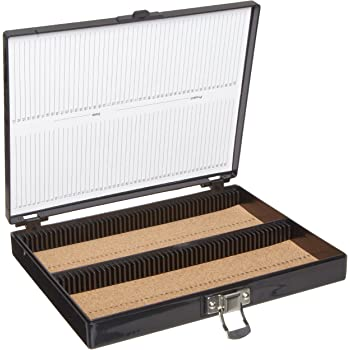 "Heathrow Scientific HD15994G Black Cork Lined 100 Place Microscope Slide Box, 8.25"" Length x 7"" Width x 1.3"" Height"