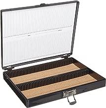 Heathrow Scientific HD15994G Black Cork Lined 100 Place Microscope Slide Box, 8.25