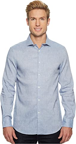 Perry Ellis - Slim Fit Long Sleeve Solid Linen Shirt