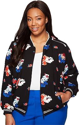 Plus Size Travelling Bloom Zip Front Bomber Jacket