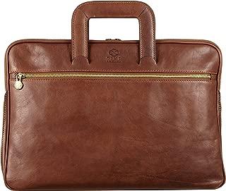 Genuine Leather Briefcase Slim Laptop Messenger Bag Unisex Brown Time Resistance