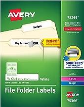 Avery TrueBlock File Folder Labels, Sure Feed Technology, Permanent Adhesive, White, 2/3