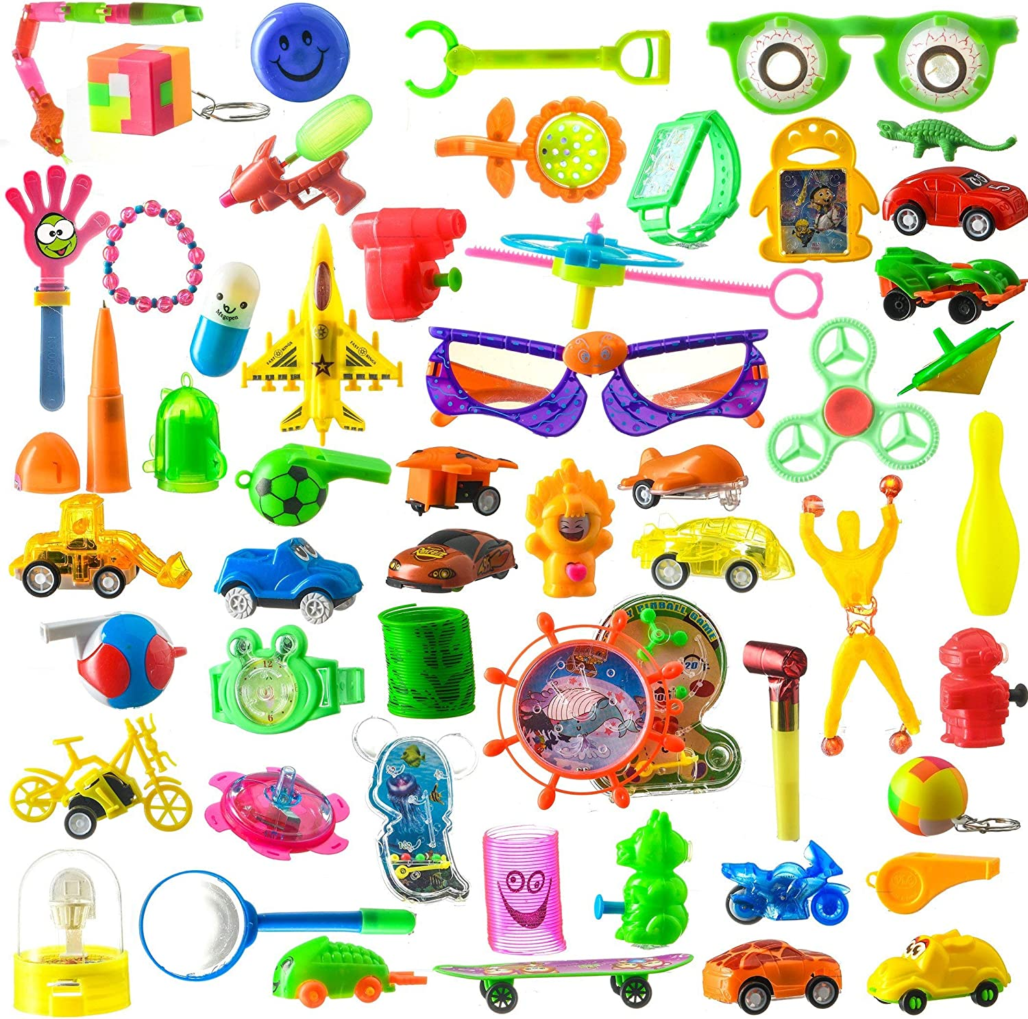 100 Piece Toy Assortment Stocking Stuffers (Includes  Wall Climbers , Glitter Megaphone Whistles , Miniature Playing Cards , Mini Cups and Ball Games , Plastic Bathtub Boats, Metal Police Badges , 3'' Parachutes , Yo Yo's , Rings, Finger Traps , and Other