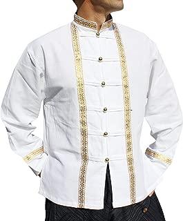 Raan Pah Muang 泰国 Grooms 正式 Muang 棉衬衫 带丝带边缘
