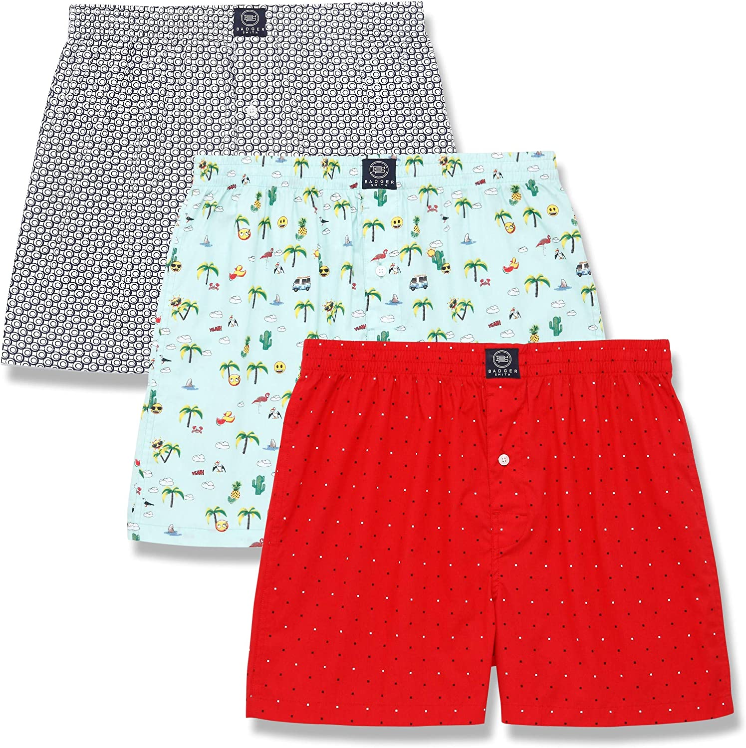 Badger Smith Mens 5 Pack and 3 Pack 100/% Cotton Print Multicolor Boxer Shorts