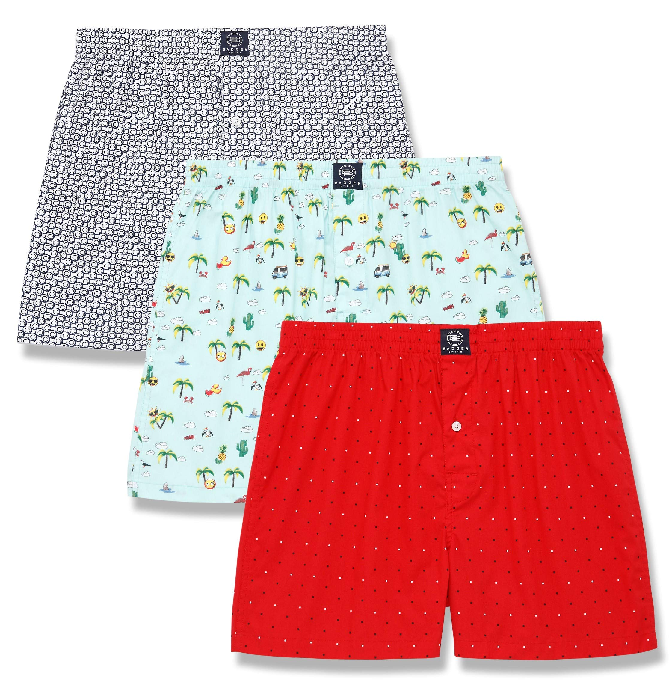 Badger Smith Men's 5 - Pack and 3 - Pack 100% Cotton Print Multicolor Boxer Shorts
