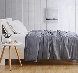 London Fog Velvet 15 lb Weighted Plush Blanket, Grey