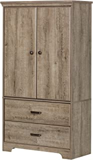 South Shore 2-Door Armoire with Adjustable Shelves and Storage Drawers, Weathered Oak