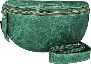 SKUTARI® Leder Muzaka Croco, Unisex Bauch- und Umhängetasche aus echtem Leder im Croco-Look, mit Langen Gurt und Innentasc...