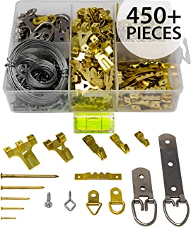 Picture Hanging Kit 450 Pieces | Hardware for Frames Heavy Duty | Great Assortment Includes: Screws, Nails, D Rings, Hooks, Wires, Sawtooth Hangers, Heavy Duty Hooks | Comes with Transparent Solid Box