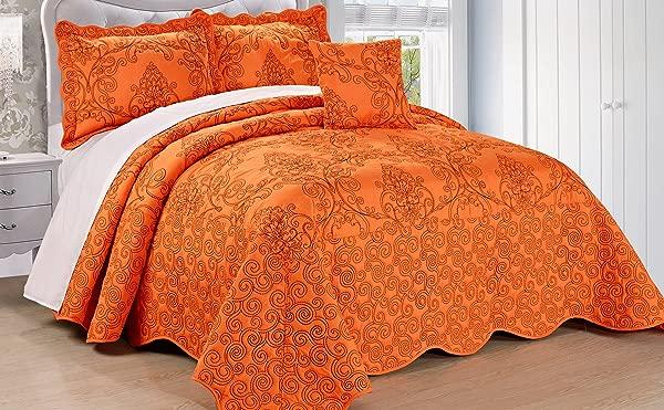 Serenta Damask 4 Piece Bedspread Set King Nectarine