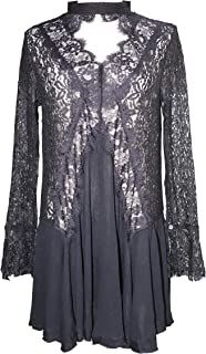Womens Lace Sexy See Through Long Sleeve Swing Short Dresses