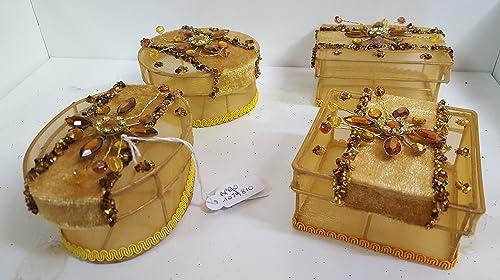 Set 4 hachteln Gold, gemischte Motive, H  5cm, Weißachten in Geschenkbox Box Strenna