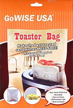 """2 Pack Non-Stick Reusable Toaster Bags 6.7"""" x 7.5"""" - Oven, Microwave, Freezer & Dishwasher Safe GW22618"""