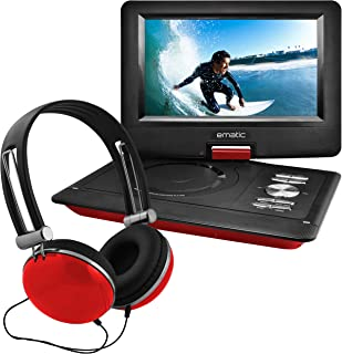 Ematic Portable DVD Player with 10-inch LCD Swivel Screen, Headphones and Car Headrest Mount, Red