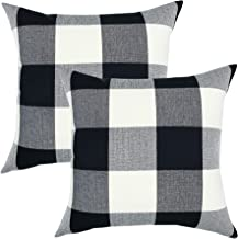 YOUR SMILE Retro Farmhouse Buffalo Tartan Chequer Plaid Cotton Linen Decorative Throw Pillow Case Cushion Cover Pillowcase for Sofa 18 x 18 Inch, Set of 2, Black/White