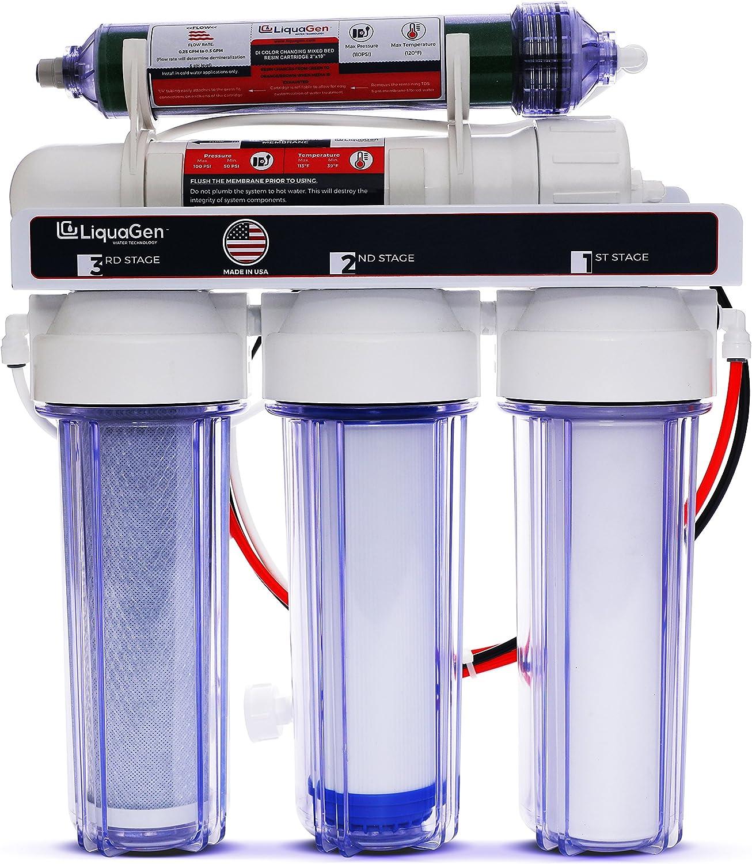 LiquaGen 5Stage Reverse Osmosis Deionization (RO DI)  Aquarium Reef Water Filter System, 75 GPD