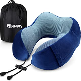 Sierra Concepts Travel Pillow - 100% Pure Memory Foam Neck Pillows for Airplane, Traveling, Car, Sleeping, Home - Velour F...