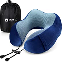 Sierra Concepts Travel Pillow - 100% Pure Memory Foam Neck Pillows for Airplane, Traveling, Car, Sleeping, Home - Velour Fabric with Side Pocket, DX100 Series Blue