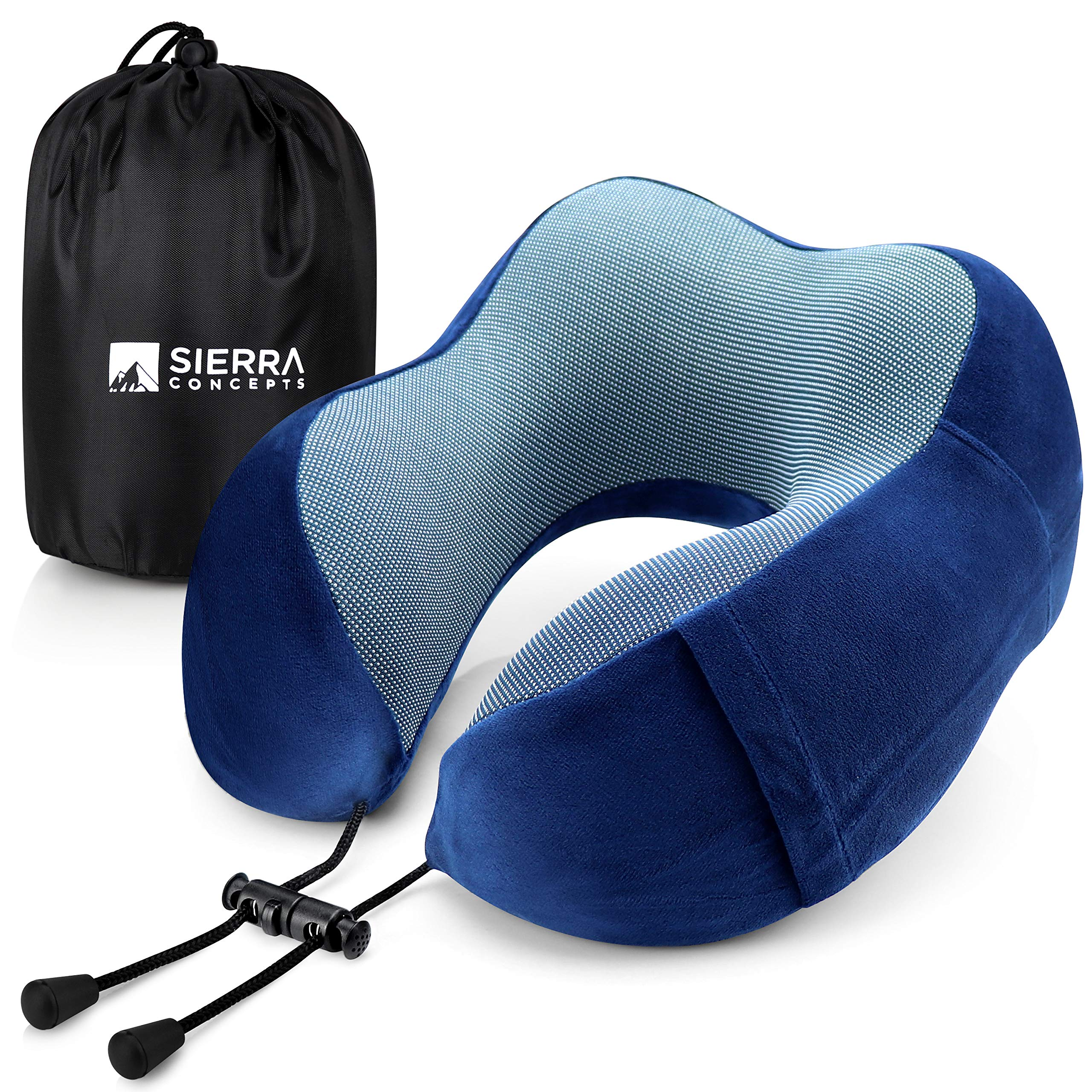 DX100 Series Blue 100/% Pure Memory Foam Neck Pillows for Airplane Car Sierra Concepts Travel Pillow Sleeping Velour Fabric with Side Pocket Traveling Home