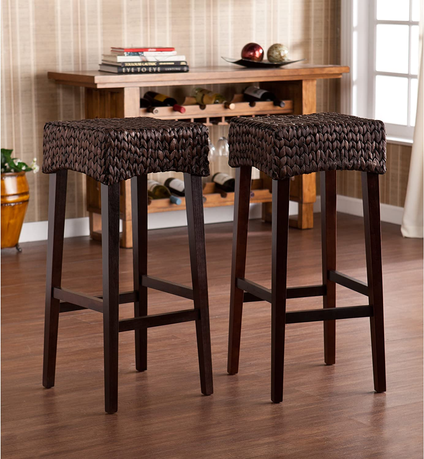 Water Hyacinth 30  Counter Stools - Set of 2 - Woven w  Chocolate Brown Finish