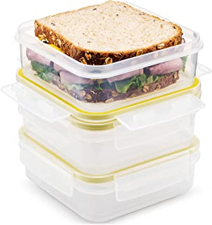 Komax Biokips Food Storage Sandwich Lunch Box Container 23oz. (set of 3) - Airtight, Leakproof With Locking Lids - BPA Free Plastic - Microwave, Freezer and Dishwasher Safe