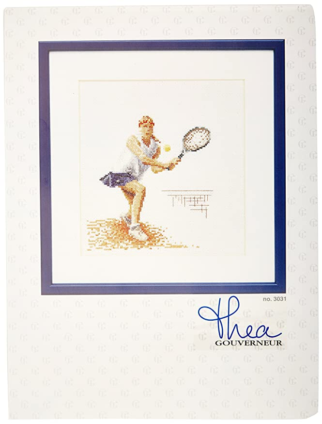 Thea Gouverneur TG3031A 18 Count Counted Cross Stitch Kit, 6-1/4 by 6-3/4-Inch, Tennis on Aida