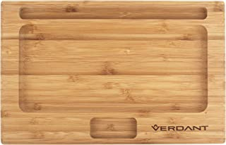 Verdant Bamboo Rolling Tray Large Full Size with Cutouts 11 in x 7 in