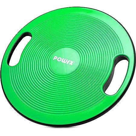 POWRX Balance Board inkl. Workout I Wackelbrett Ø 40cm mit Griffen I Therapiekreisel für propriozeptives Training und Physiotherapie versch. Farben